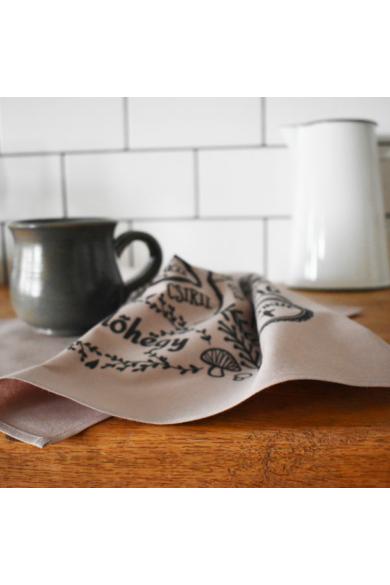 Térképes konyharuha - Tejeskávé barna, 2 db