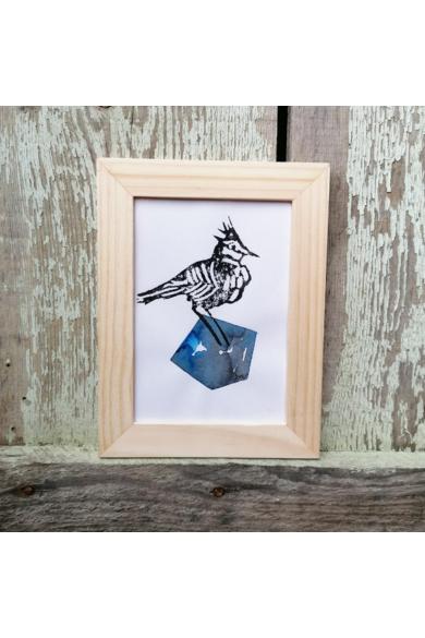 Falikép - Pacsirta kék kövön