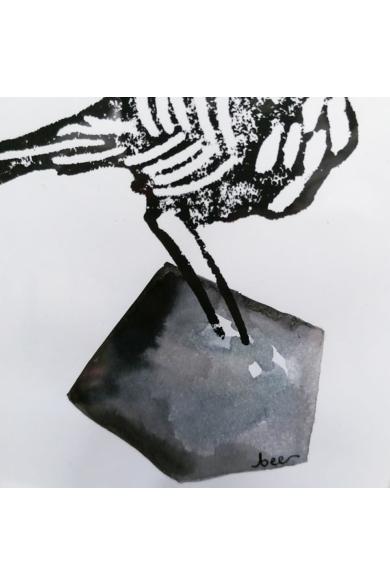 Falikép - Pacsirta szürke kövön