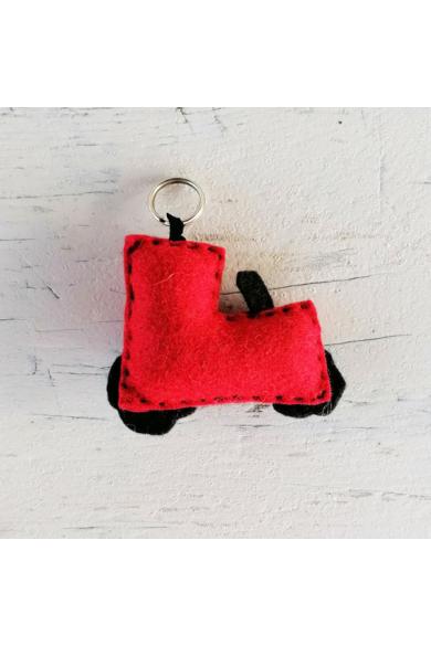 Kulcstartó - Piros traktor