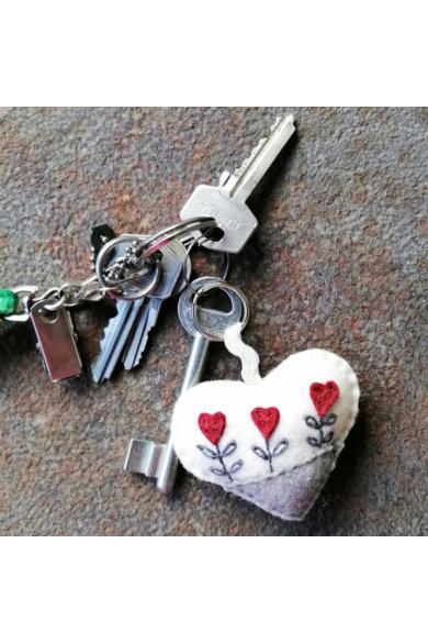 Kulcstartó - Szürke szív